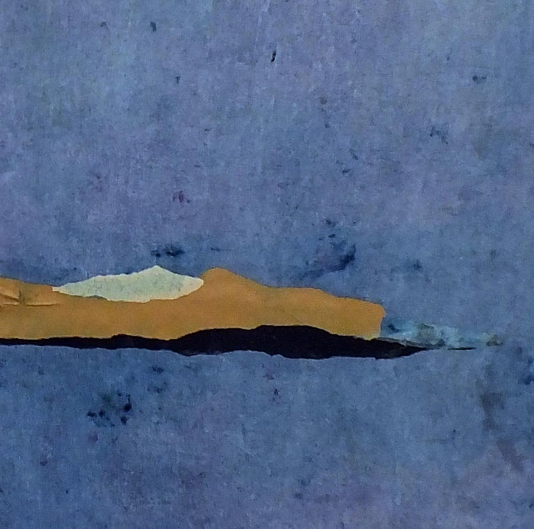 Paper Landscape 10, Contemporary Minimalist Abstract Painting Blue Collage 2