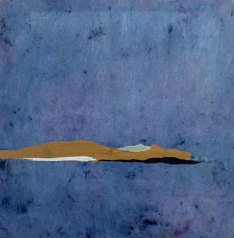 'Paper Landscape 10' is an original minimalist abstract art on canvas by emerging Sicilian artist - Marilina Marchica. It is an oil painting and paper collage which has a rich texture. The subject is focused on Italian nature, sea views, decaying