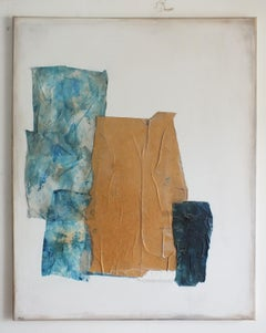 Paper Landscape 4, Contemporary Art Abstract Mixed media Collage Yellow Blue