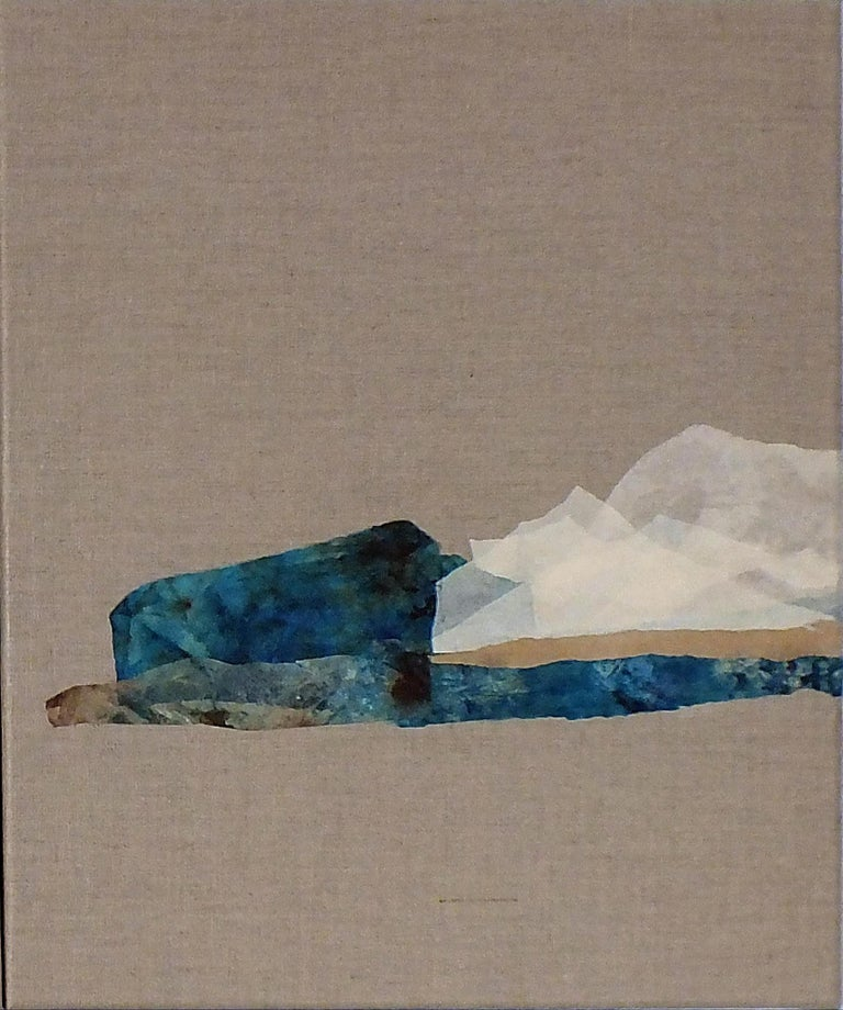 Paper Landscape 6, Contemporary Minimalist Abstract Art Oil Collage Canvas Blue - Painting by Marilina Marchica