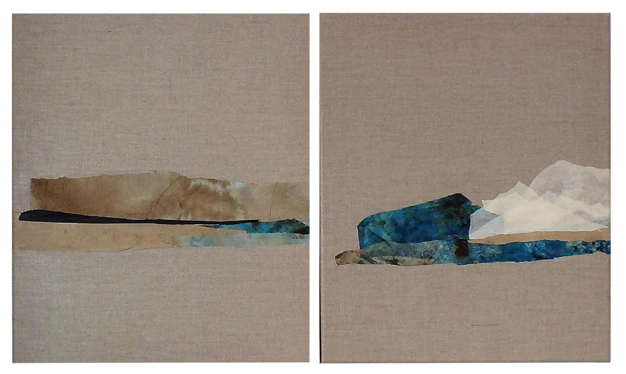 Paper Landscape 6, Contemporary Minimalist Abstract Art Oil Collage Canvas Blue