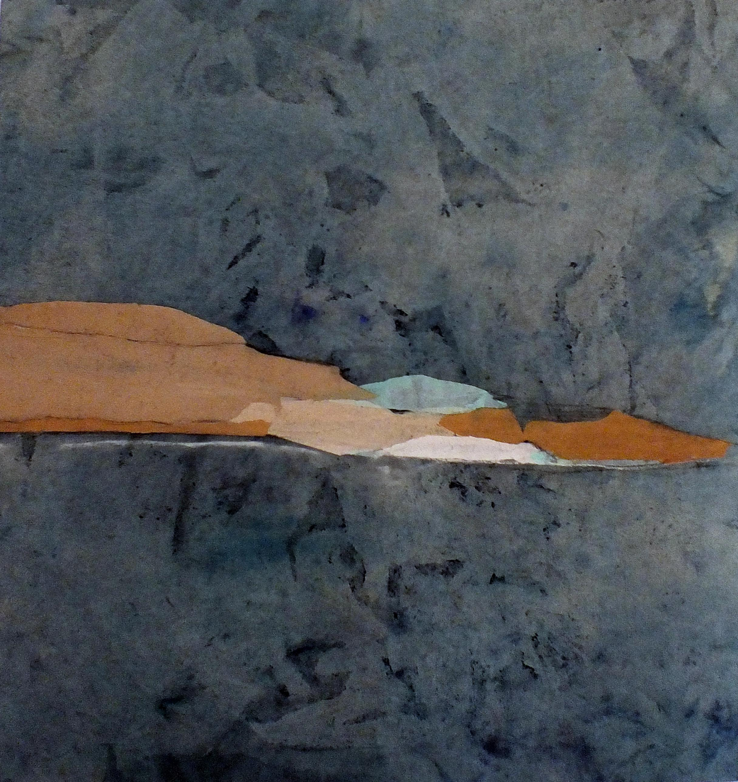 Paper Landscape 9, Contemporary Abstract Mixed media Collage Canvas Blue Brown