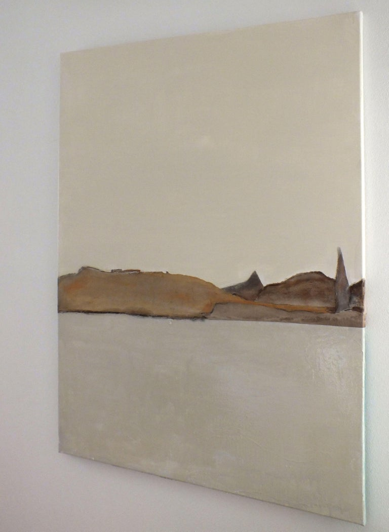 PaperLandscape, Painting, Oil on Canvas - Beige Abstract Painting by Marilina Marchica
