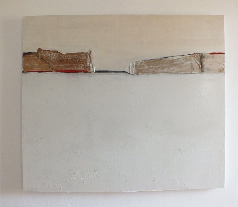 PaperLandscape#, Painting, Oil on Canvas - Gray Abstract Painting by Marilina Marchica