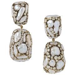 Marilyn Cooperman Keshi Pearl and Diamond Day to Night Earrings