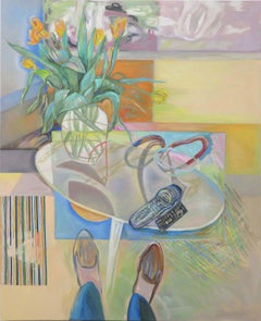 """""""The Diarist's Journal"""" time travels a still life in yellows, blues, and greens"""
