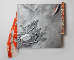 """""""Turbine"""", painted in silvery metallic aluminum and fiery oranges"""