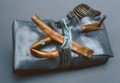 """""""Chugach Secret"""",  a unique lead, copper, and steel sculpture"""