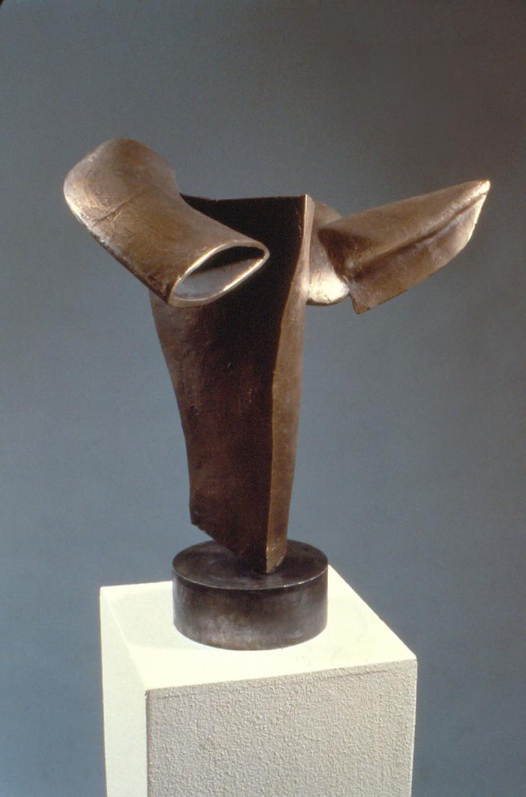 """""""Flying Fishes"""", soaring unique bronze forms human and aquatic - Abstract Sculpture by Marilyn Davidson"""
