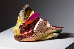 """""""Red"""" sculpture with textiles, painted  trompe l'oeil"""