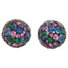 Marilyn F Cooperman Multi-Color Earrings Signed Fred Leighton