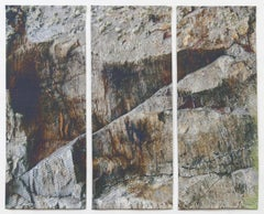 Gray Rock Triptych, Mixed Media on Canvas