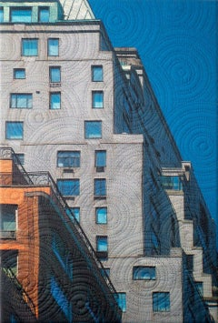 Mannahatta- Gray Building, Mixed Media on Canvas