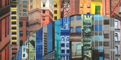 Patchwork City 19, Mixed Media on Wood Panel