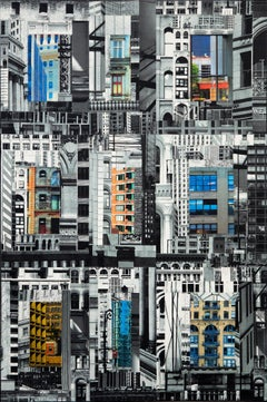 Patchwork City 26, Mixed Media on Canvas