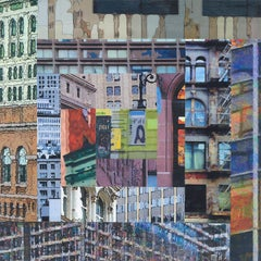 Patchwork City 4, Mixed Media on Wood Panel