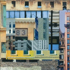 Patchwork City 5, Mixed Media on Wood Panel
