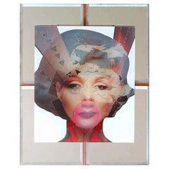 """Marilyn"" Mixed-Media on Wood with Mirror Inlay"