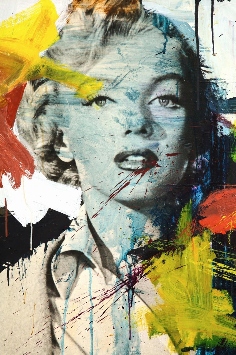 From the mid-1960s comes this fabulous large painting titled Norma Jean of an early Marilyn Monroe. It's a mixed media collage of paper with acrylic paint that was laid down to canvas by a NY artist. The image of Marilyn is paper where bold abstract