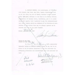 Marilyn Monroe Autograph on Legal Document