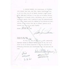 Marilyn Monroe genuine 1957 autograph on legal document