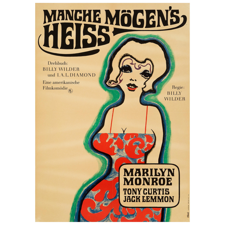 Marilyn Monroe 'Some Like It Hot' Original Vintage Movie Poster, German, 1968