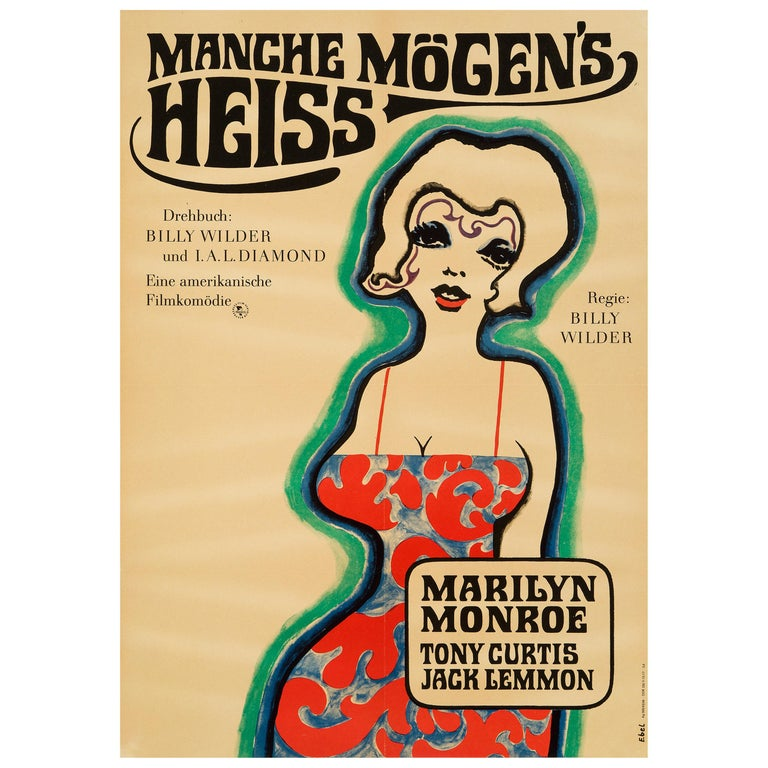 Marilyn Monroe 'Some Like It Hot' Original Vintage Movie Poster, German, 1968 For Sale