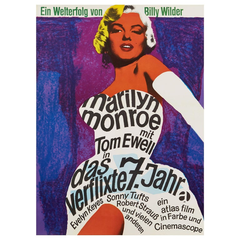 Marilyn Monroe 'The Seven Year Itch' Original Vintage Movie Poster, German, 1966 For Sale