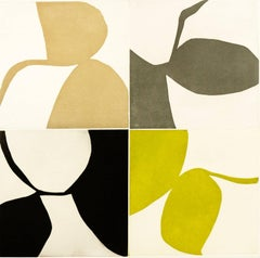 """New Alphabet 14"", graphic abstract aquatint monoprint, yellow, sepia, and gold."
