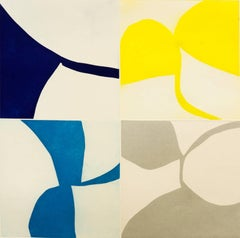 """New Alphabet 16"", graphic abstract aquatint monoprint, blues, yellow, silver."