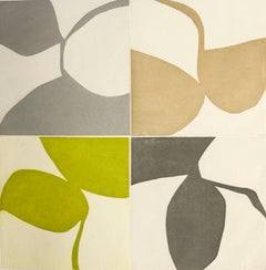 New Alphabet 7, graphic abstract aquatint monoprint, muted gold, green, silver.