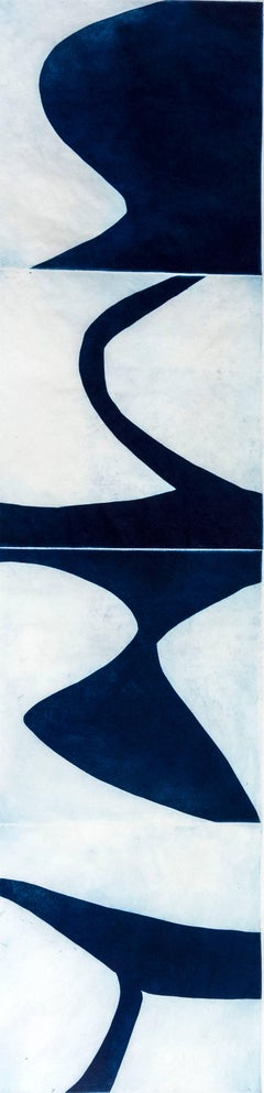 """Prussian Blue 9"", graphic modernist scroll-like abstract monoprint, deep blue."