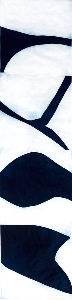 """Prussian Blue Six"", graphic aquatint monoprint, Japanese scroll influenced."