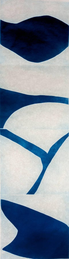 """""""Prussian Blue Three"""", graphic modernist scroll-like abstract print, deep blue."""