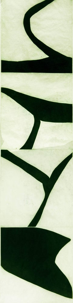 """""""Terre Verte Four""""graphic modernist scroll-like abstract print, deep green."""