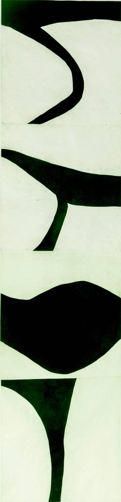 """TerreVerte Nine"", graphic modernist scroll-like abstract monoprint, deep green."