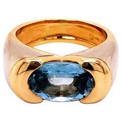 Marina B 3.12Kt Oval Elongated Aquamarine 18K White Yellow Gold Solitaire Ring