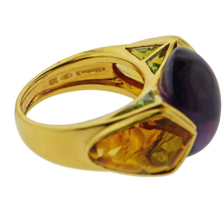 Marina B Amethyst Peridot Citrine Gold Ring In Excellent Condition For Sale In Boca Raton, FL