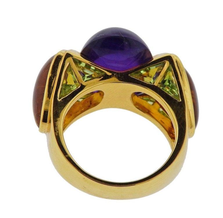 Marina B Amethyst Peridot Citrine Gold Ring For Sale 1