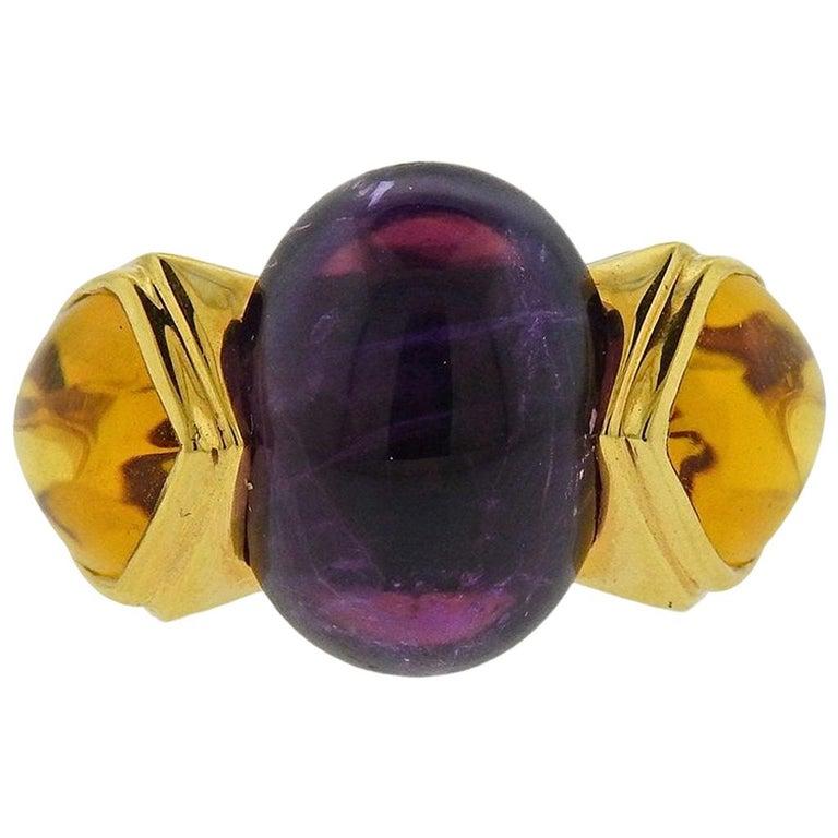 Marina B Amethyst Peridot Citrine Gold Ring For Sale