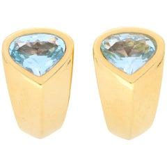 Marina B Aquamarine Hoop Earrings Set in Solid 18 Karat Yellow Gold