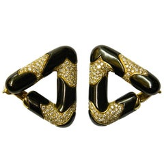 Marina B. Black Enamel and Diamond Triangle Earrings