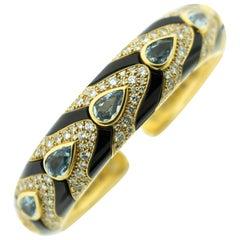 Marina B Black Enamel Aquamarine Diamond 18 Karat Gold Cuff Bracelet