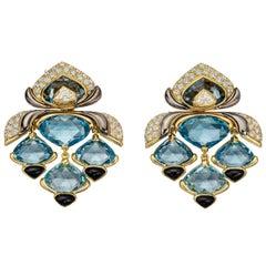 Marina B Blue Topaz, Diamond ans Black Onyx Drop Earrings