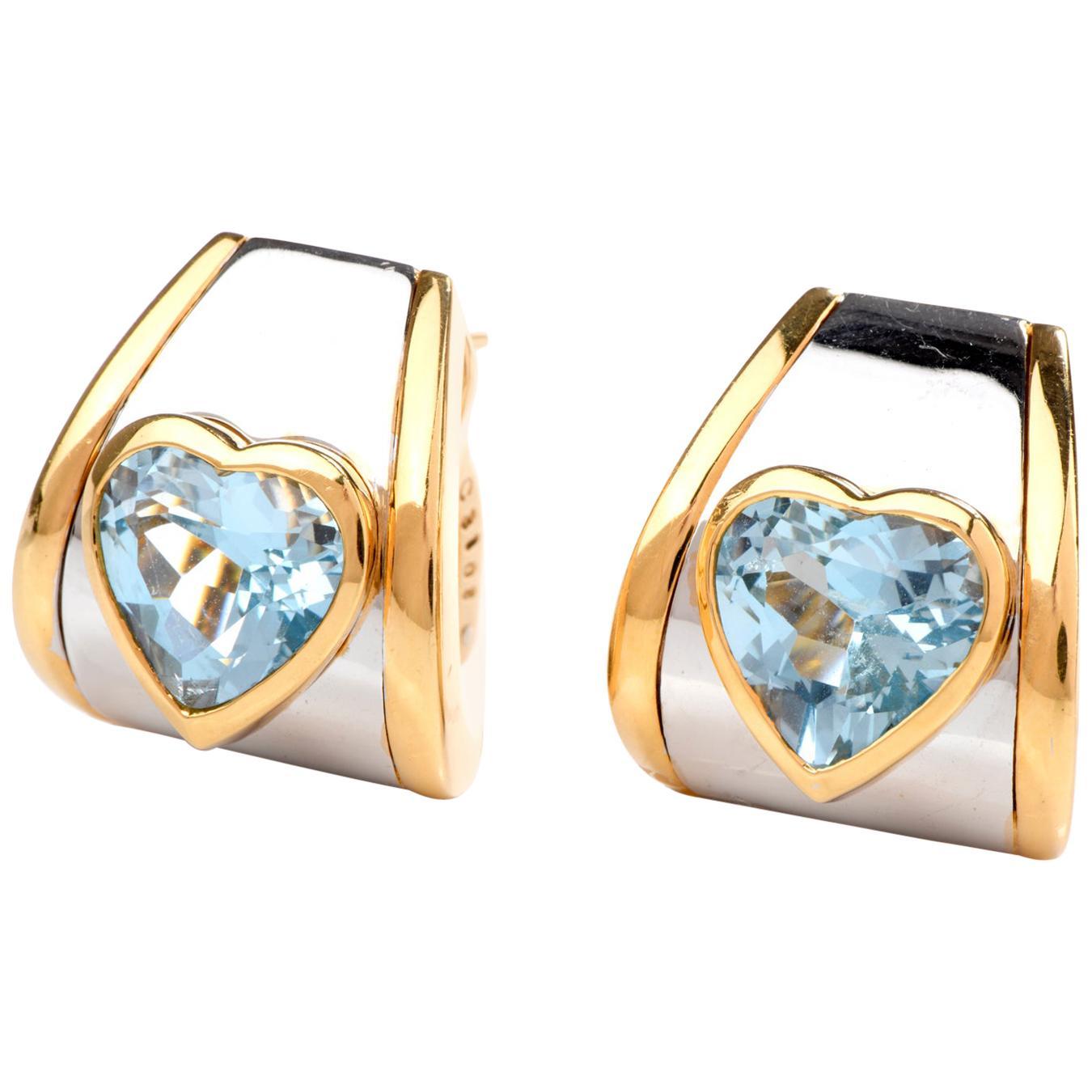 Marina B. Blue Topaz Heart 18 Karat Clip-On Earrings
