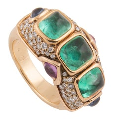 Marina B 'Bulgari' 18 Karat Yellow Gold and Diamond and Emerald Ring, Unique