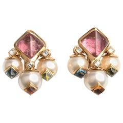 Marina B 'Bulgari' 18k Yellow Gold Tourmaline and Cultured Pear Earrings Aquila