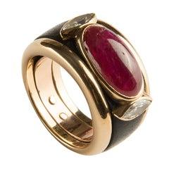 Marina B 'Bulgari' Diamond and Ruby Ring 'Bandeau 2 Navettes'
