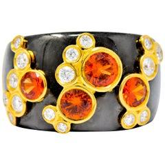 Marina B 'Bulgari' Orange Sapphire Diamond Onyx 18 Karat Gold Fujiyama Ring