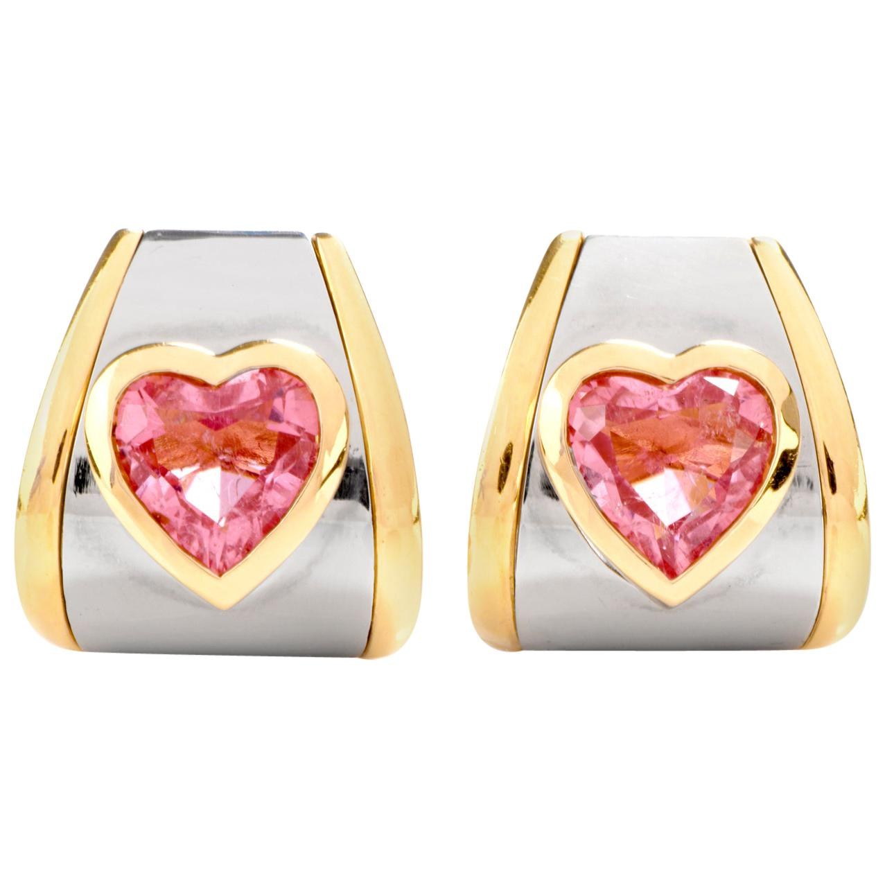 Marina B. Bulgari Pink Tourmaline Heart 18 Karat Gold Clip-On Earrings